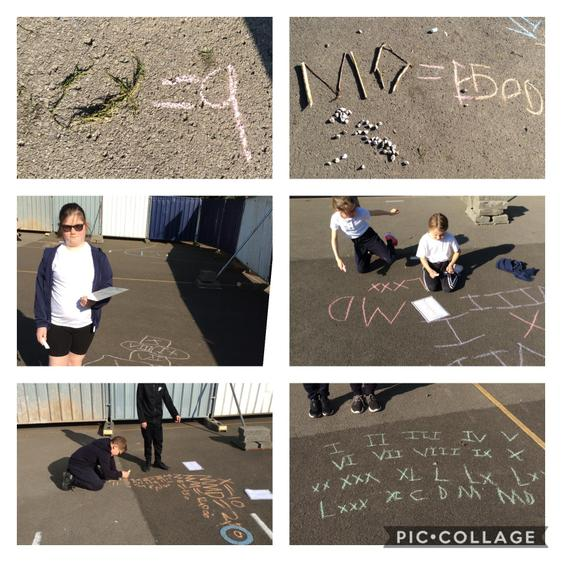 Today, we had fun making Roman numerals out of different objects.