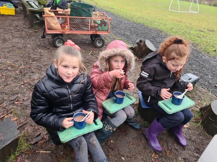Girls enjoying their hot chocolate
