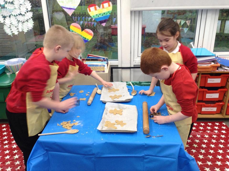 Making gingerbread men.