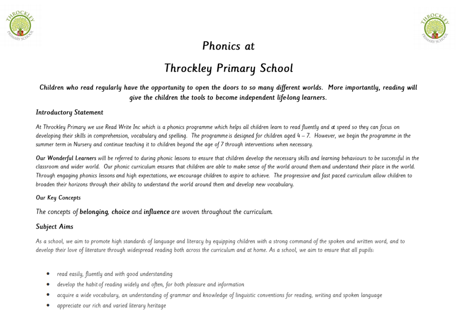 An introduction to our Phonics Progression Document