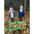 Collecting Autumn Leaves for our Bonfire!