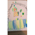 Lily drew a police car catching a naughty cow for her new story
