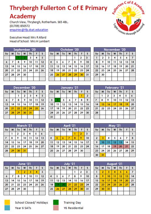 Term Dates September 2020 - August 2021