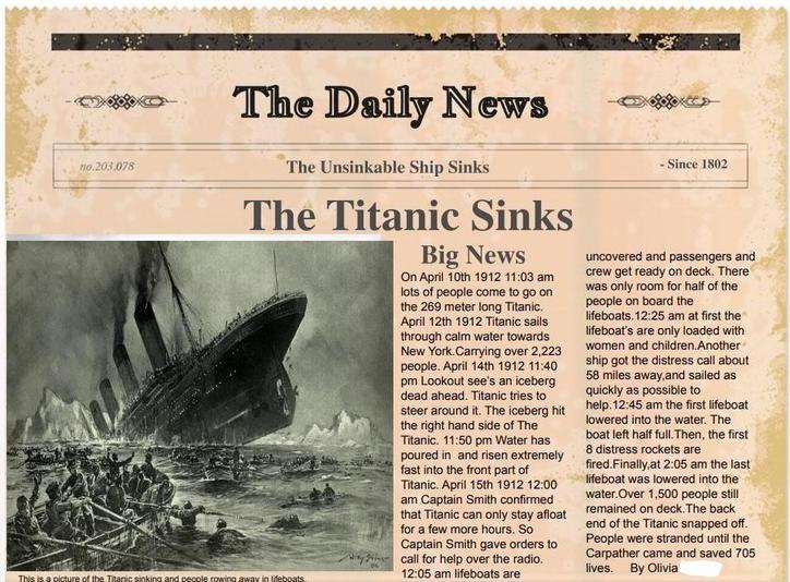 Olivia's Titanic Report