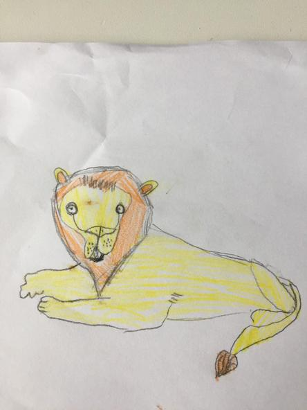Joshua's amazing lion picture.