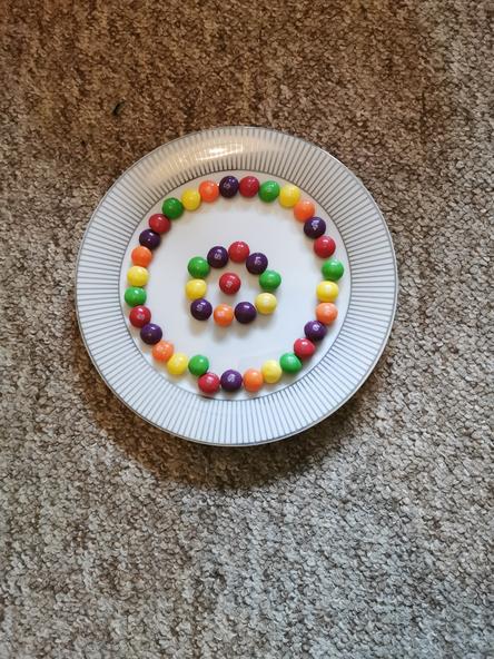 Skye's skittles all arranged.