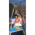 Working in the sun on the trampoline! Super!