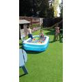 Blake and his family having fun in the pool