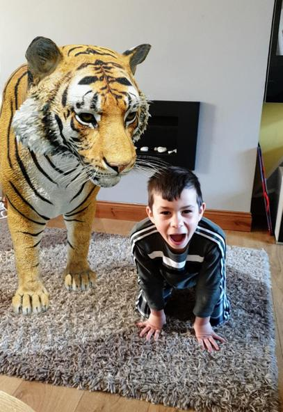 Krystian and his new friend the tiger