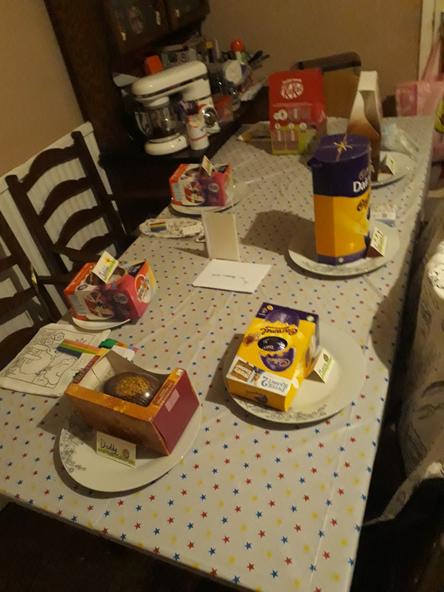 Matilda's Easter table. Yum yum!