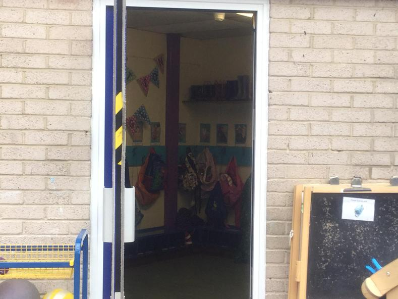 This is the classroom door where you will get dropped off and picked up