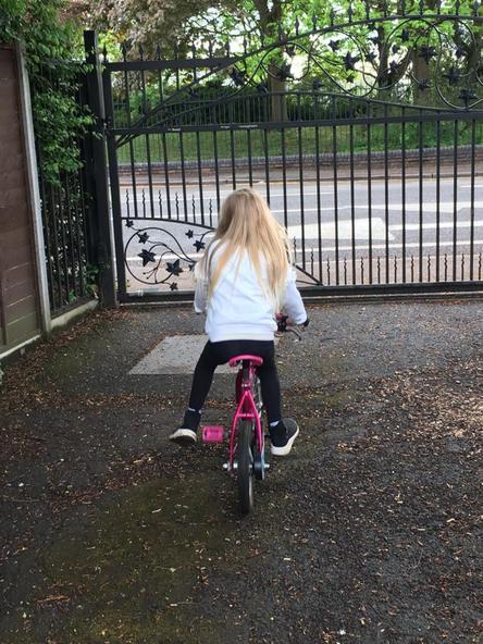 Having fun riding a bike!