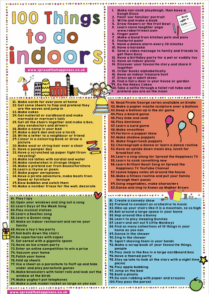 Suggestions for indoor activities :)