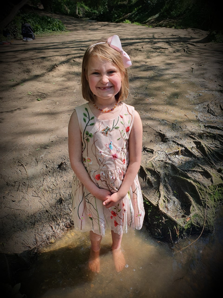 Paddling in the stream.