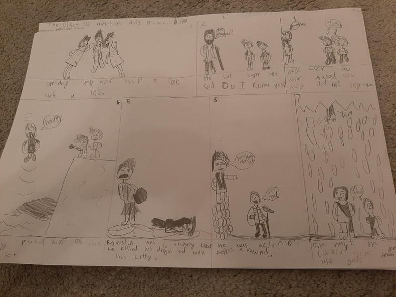 Eliza's storyboard for Romulus and Remus