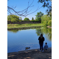 Charlie T and his Mummy feeding the ducks