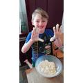 Blake making his apple crumble