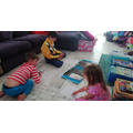 Blake and his Brother and Sister creating artwork