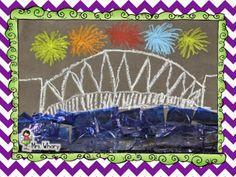 Chalk design bridge with fireworks.