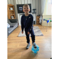Ready to do his PE lesson!