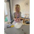 Having fun making snowballs!