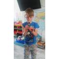 Blake playing the recorder