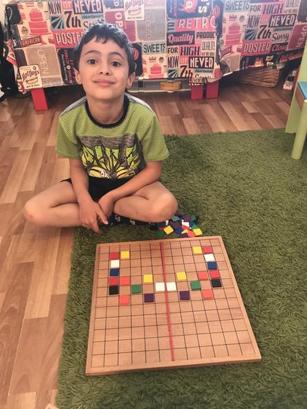 Practising making symmetrical patterns.