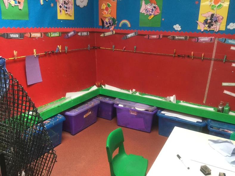 This is the painting area. We each have our own display board to show off our amazing work