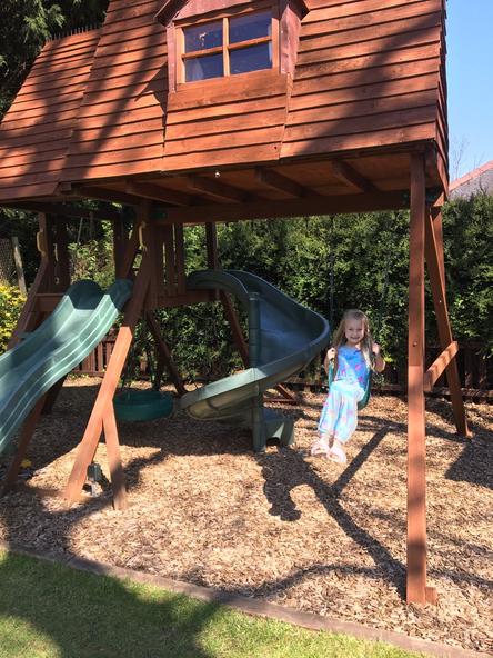 Enjoying a swing in the sun.Lovely!