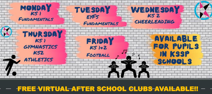 FREE VIRTUAL AFTER SCHOOL CLUBS AVAILABLE!!