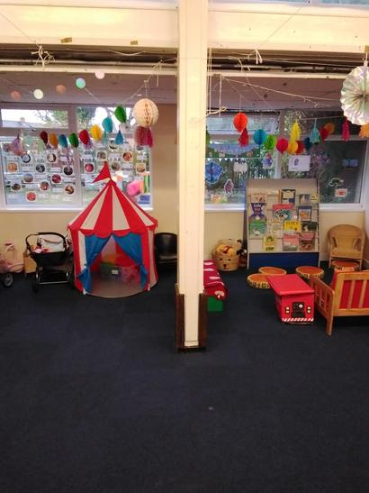 Role play and reading areas.