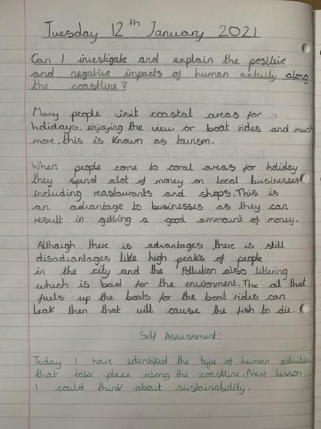 Investigating the impacts of human activity on the coastline. Well done Amrit