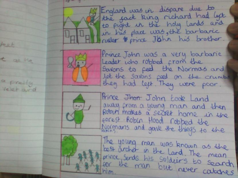 Structuring the key events within our shared text.  Well done Zoe