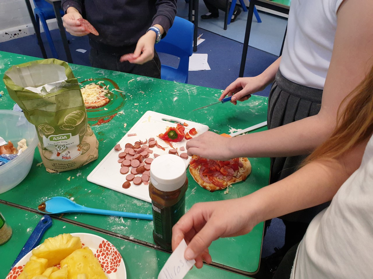 The children invented their own pizza toppings.