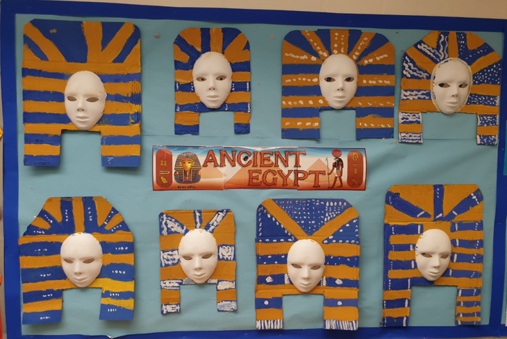 Year 3 Ancient Egypt project death masks.