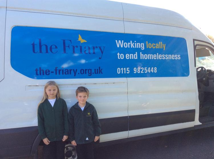 Jessica and Riley helped taking all the donations to the van.