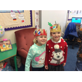Ready to have lunch in our Christmas party hats!