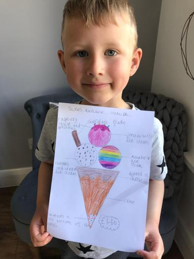 Theo designed an ice-cream.