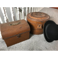 Bowler hat and a box of old stamps
