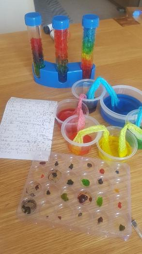 ...and carrying out colourful science experiments!