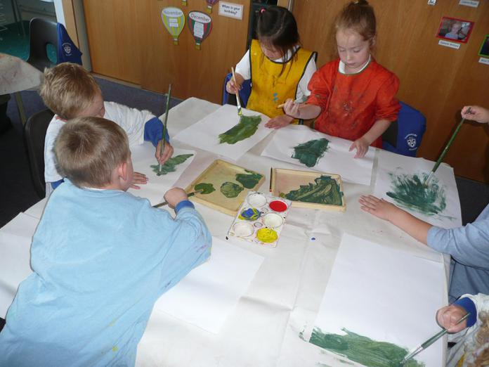 We mixed our own green and red paint.