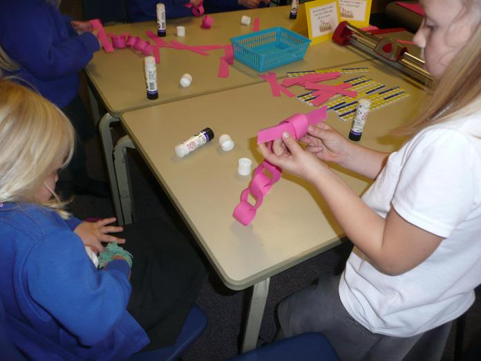 We made worms using paper.