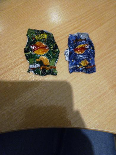 Shrinking crisp packets from Clara