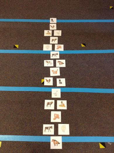 Make a hopscotch to jump down to the numbers that you say.