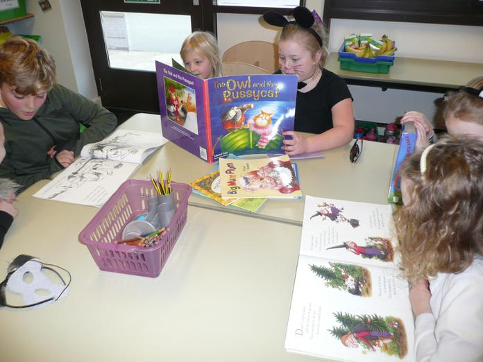 Sharing poetry books.
