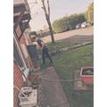 Charlie doing a spot of gardening