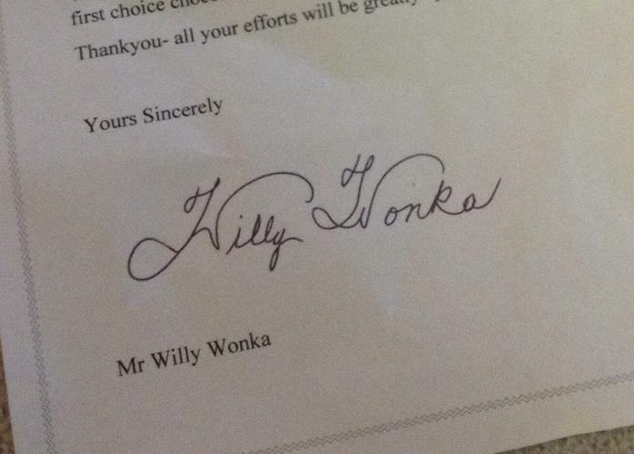 A special delivery... signed by Mr Wonka!