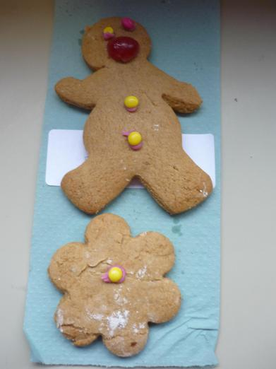 We put a red nose on our gingerbread men.