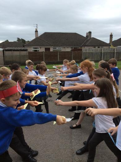 Practising our sword and shield skills