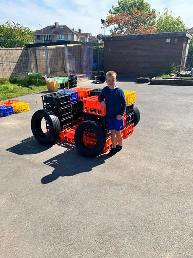 Look at the car I made using crates and tyres...